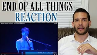 SINGING TEACHER reaction to BRENDON URIE singing The End of All Things LIVE Video