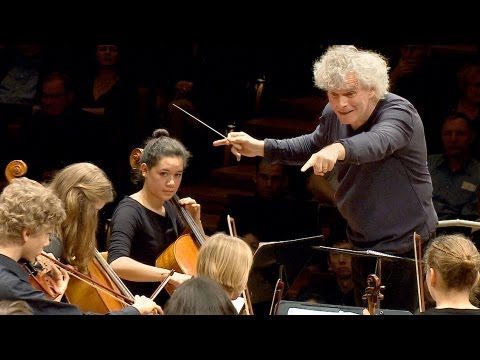 In rehearsal: Simon Rattle conducts 6 Berlin school orchestr