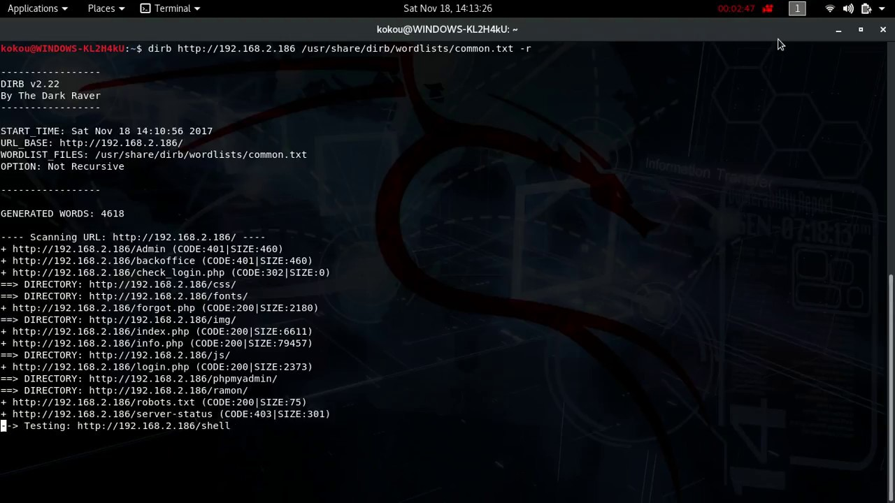 Kali Linux - Dirb - Website Page and Directory Discovery Bruteforce