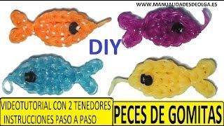 Repeat youtube video COMO HACER PECES DE GOMITAS (LIGAS) CHARMS CON DOS TENEDORES. (FISH CHARM) TUTORIAL DIY