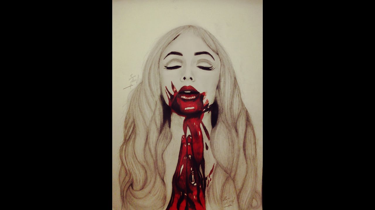 speed bloody lips drawing pencil and red markers by sara