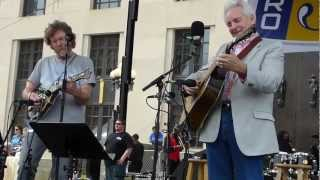 Sam Bush and Del McCoury perform on the courthouse steps in Nashville, TN (Saturday, April 6, 2013)