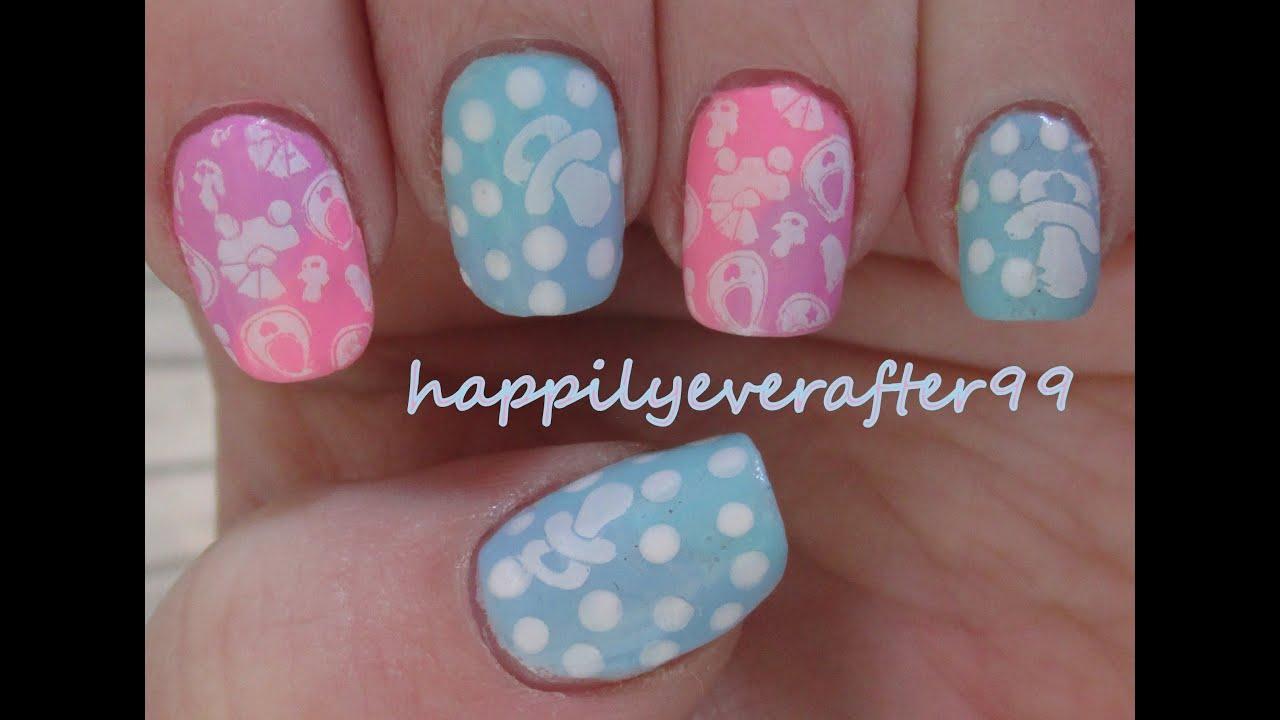Nails Art Baby Shower Theme