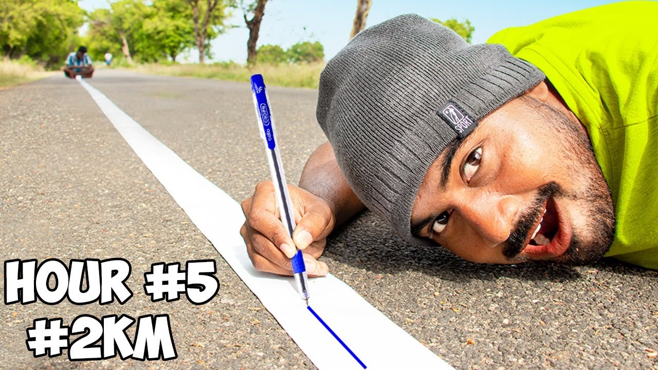 I Don't Stop Drawing Line Until My Ball Pen Runs Out | HOW LONG CHALLENGE