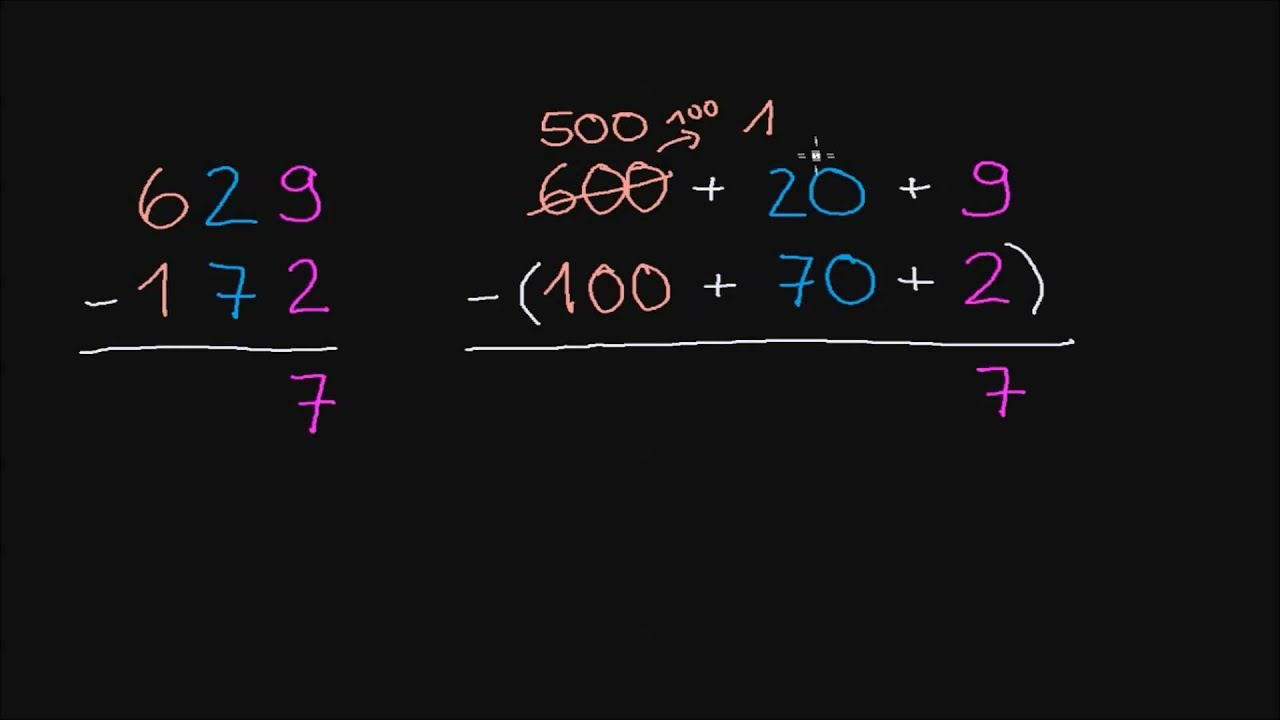 Subtrahieren: dreistellige Zahlen und Umgruppierung - YouTube