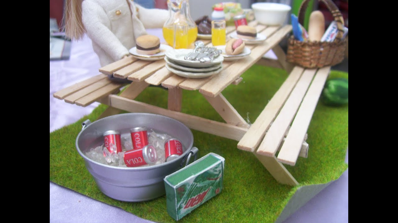 How To Make A Miniature Dollhouse Picnic Table - YouTube