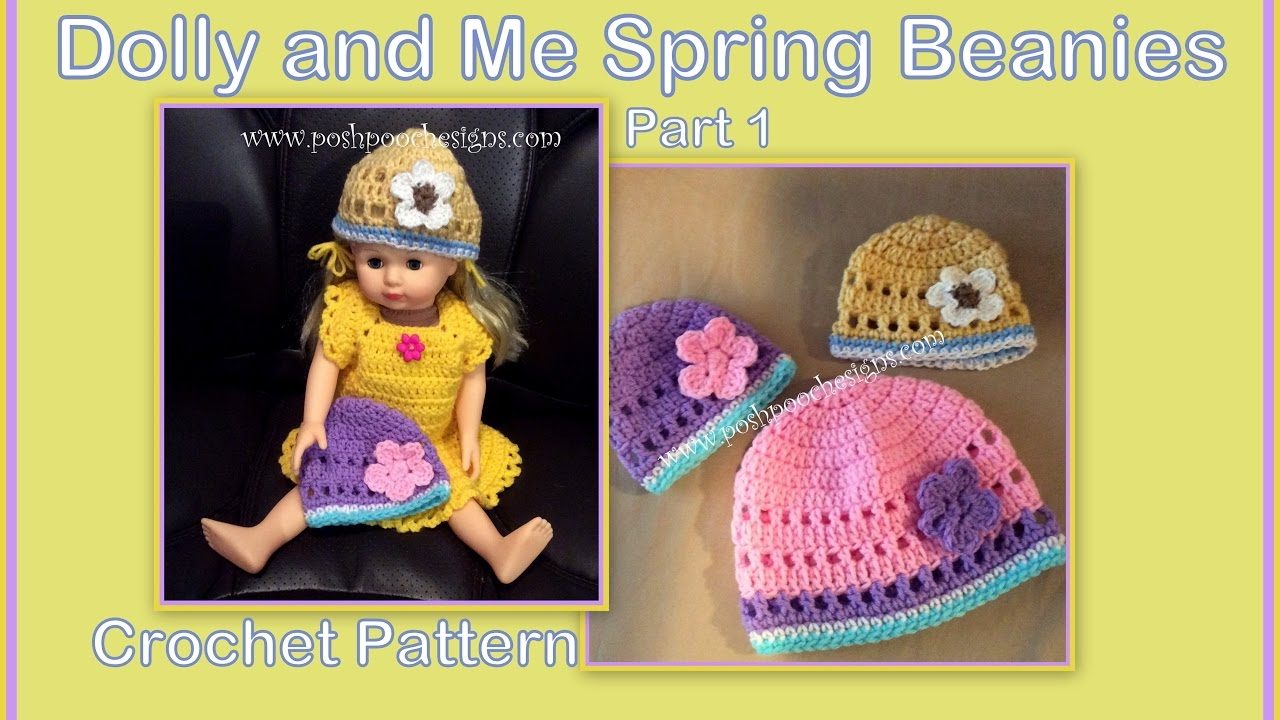 ee778de078d Part 1 - Dolly and Me Spring Beanies Crochet Pattern - YouTube