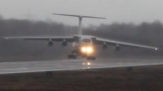 Ilyushin IL-76 strong Crosswind landing. Unbelieveable Russian Pilot skills ! (Watch in HD!)