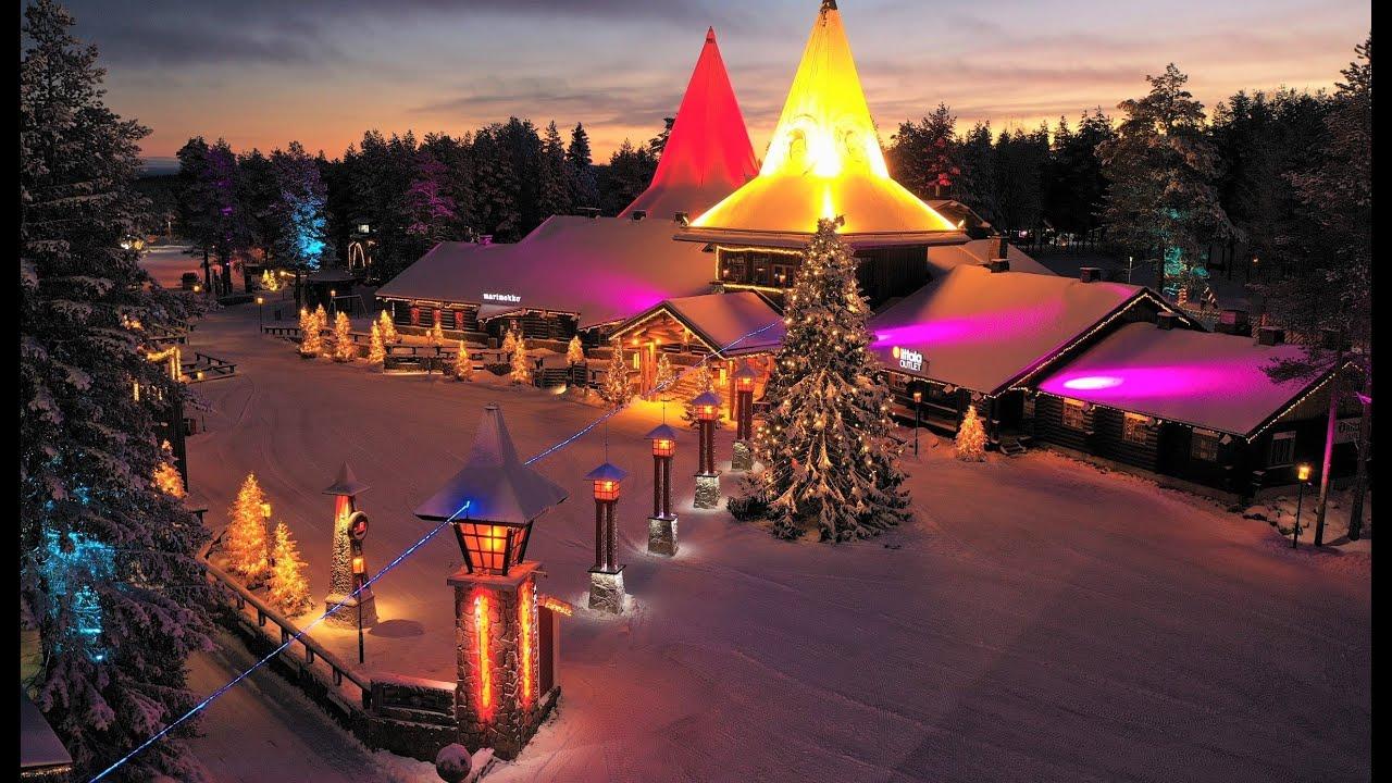 Rovaniemi Finlandia Villaggio Di Babbo Natale.Villaggio Di Babbo Natale In Rovaniemi Lapponia Veduta Aerea Santa Claus Village Finlandia Youtube