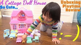 PINK Dollhouse Toy for Toddlers and Kids. You & Me Cottage House Playset. Toy Review Video