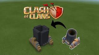 Cách xây khẩu đại bác lv1 Clash of clans trong Minecraft pe - make a Clash of clans mortar lv 1