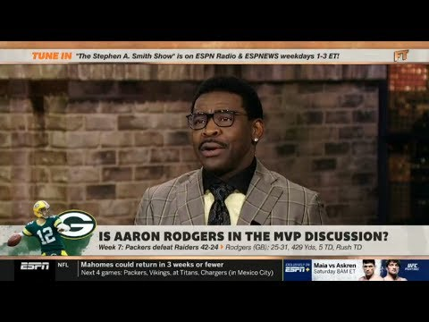 Espn First Take Michael Irvin Shocked By Packers Def Raiders 42 24 Rodgers 25 31 429 Yds Td Youtube