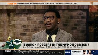 "ESPN FIRST TAKE | Michael Irvin ""SHOCKED"" by Packers def. Raiders 42-24; Rodgers: 25-31, 429 Yds,TD"