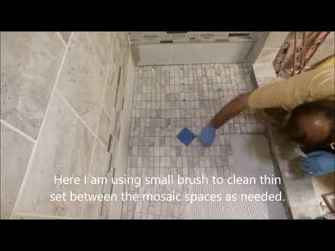 How To Tile A Shower Floor Installing Mosaic Porcelain Tiles Step By