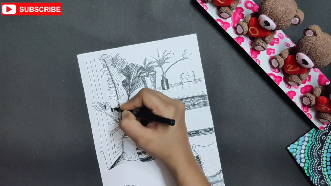 Pen Sketching // Step by Step tutorial // How to make perspective drawing //