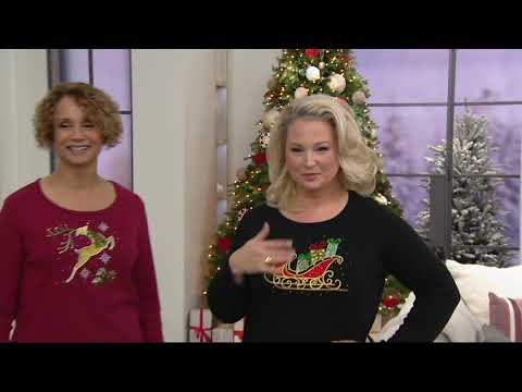 Quacker Factory Jingle All the Way Long Sleeve T-Shirt on QVC