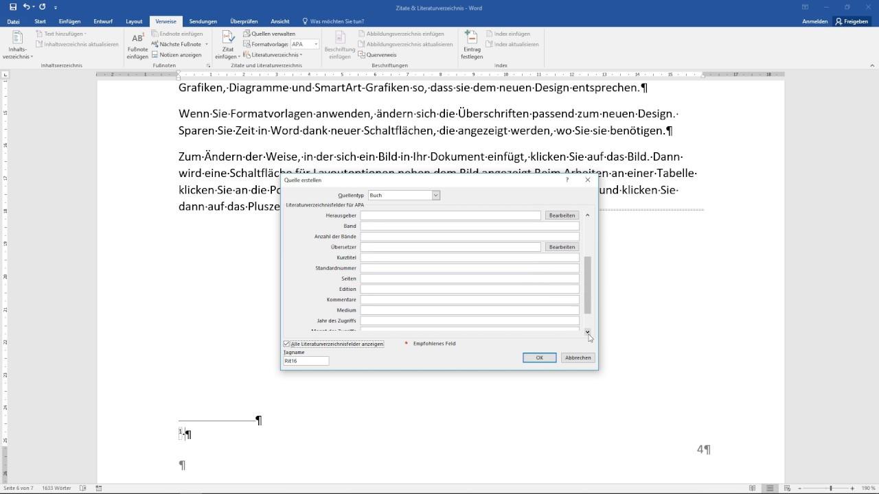 Word Literaturverzeichnis Und Zitate Erstellen Tutorial Formatieren Fußnoten Platzhalter 14