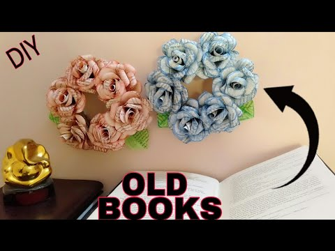Recycled Book Wreath Tutorial - How to DIY Paper Rose Wreath -Hanging Flowers - Wall Decoration Idea