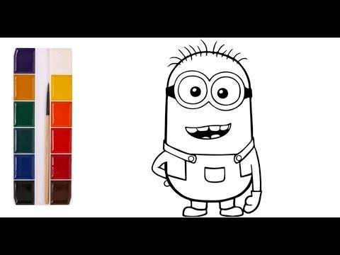 Раскраска для детей ГЕРОИ МУЛЬТИКА МИНЬОНЫ. Учим цвета.