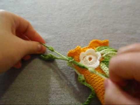 Вязание крючком Аппликации крючком цветы и листья.