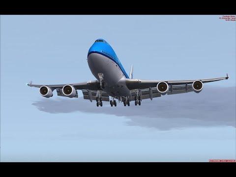 FSX PMDG 747 KLM Cargo flight, Landing in Athens