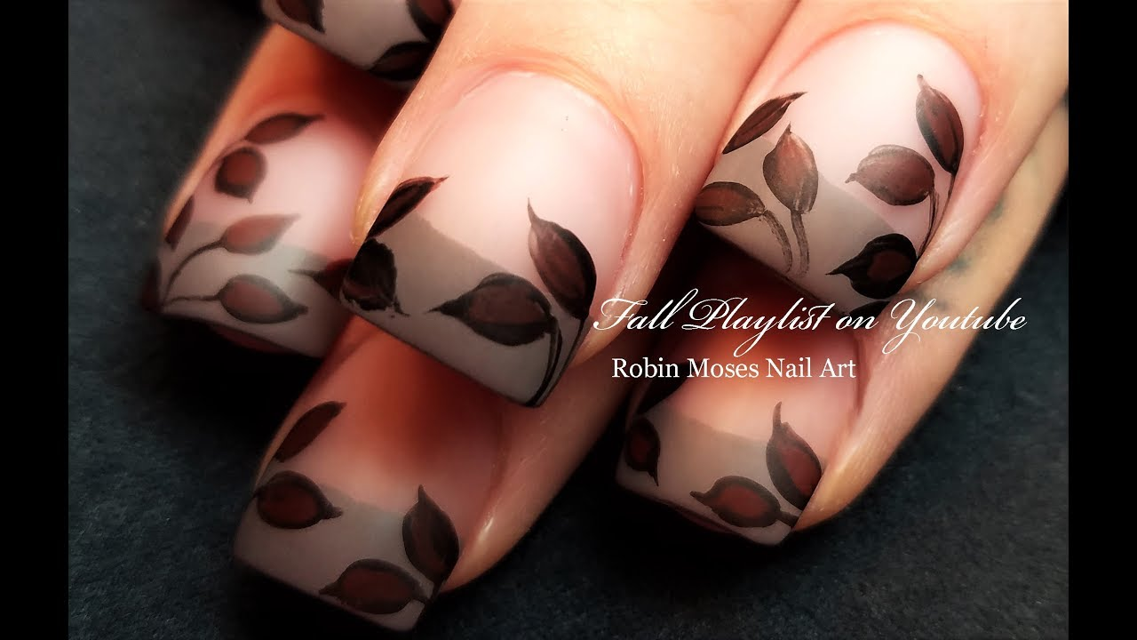Dark Red Winter Leaves! Elegant Taupe French Tip Nail Art - YouTube