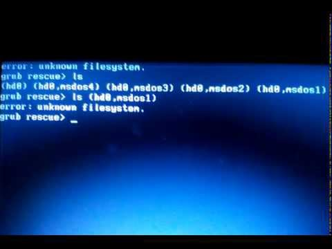 How set up boot setting ERROR: UNKNOWN FILE SYSTEM,  GRUB RESCUE (IN HINDI AUDIO)