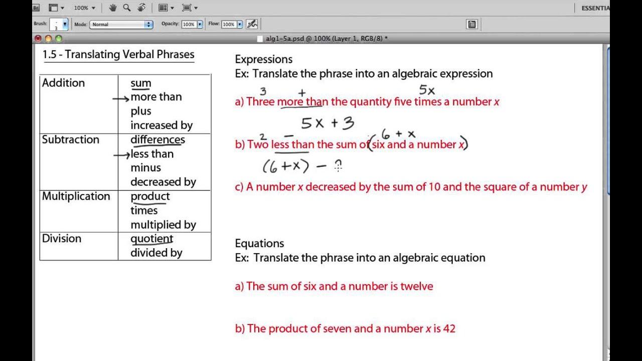 small resolution of Translating Verbal Sentences To Algebraic Equations - Tessshebaylo