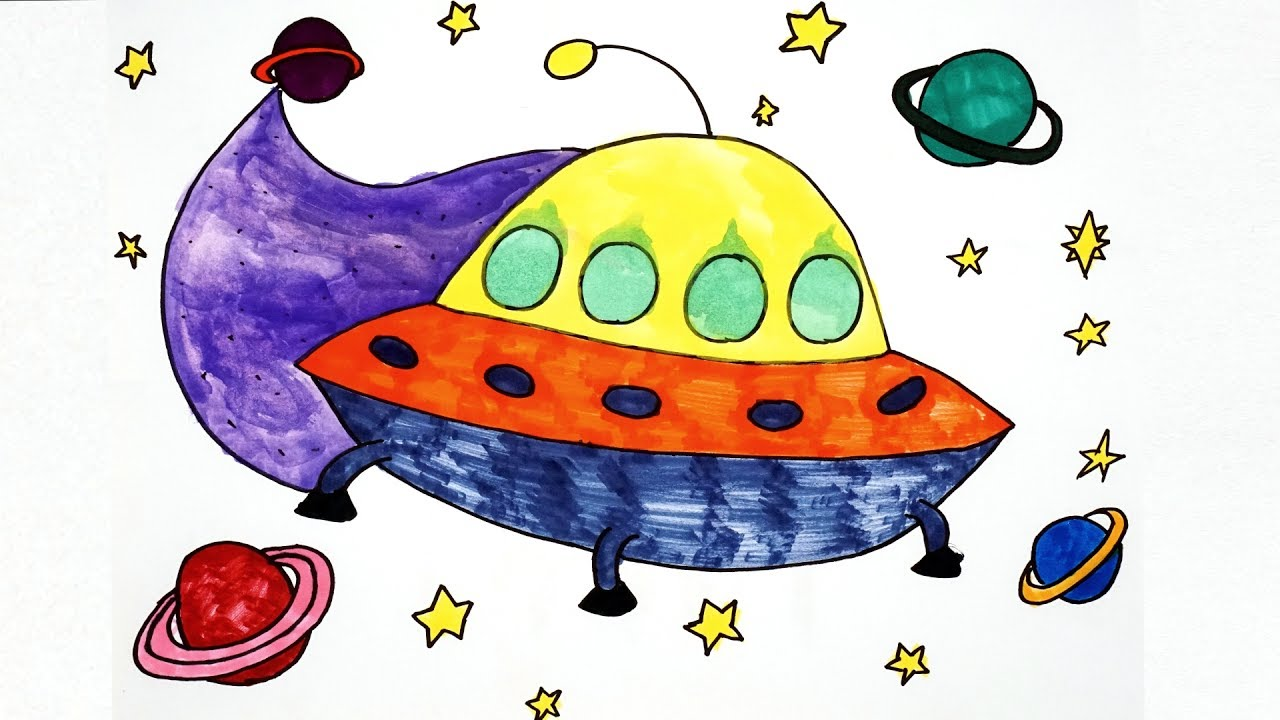How To Draw A UFO For Kids - UFO Coloring Pages For Kids - YouTube