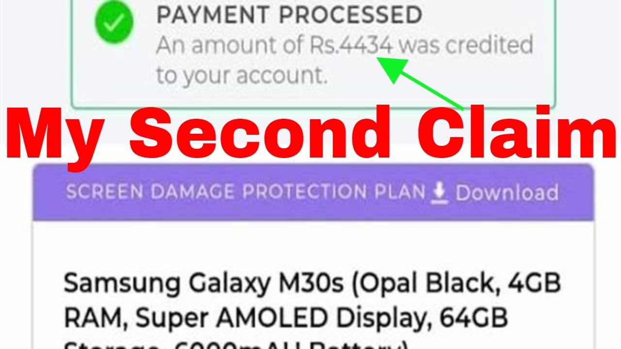 I Claimed My Second Mobile Insurance Thru Acko With Payment Proof M30s Screen Protection Plan Claim Youtube