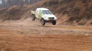 Dakar rally 2018: Vaidotas Žala tests with Toyota Hilux in quarry