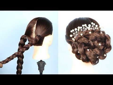 New bridal Bun Hairstyle For wedding/party || new hairstyle 2019 || braided hairstyles ||  prom thumbnail