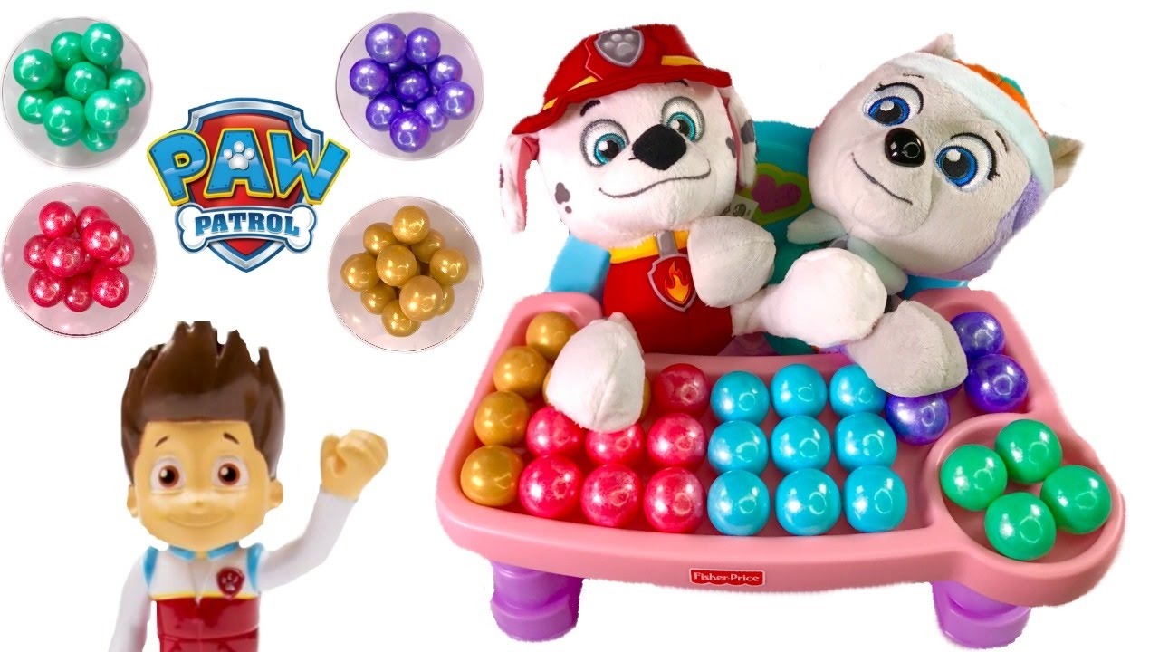 paw-patrol-everest-marshall-eat-colorful-rainbow-gumballs-best-learning-colors-video