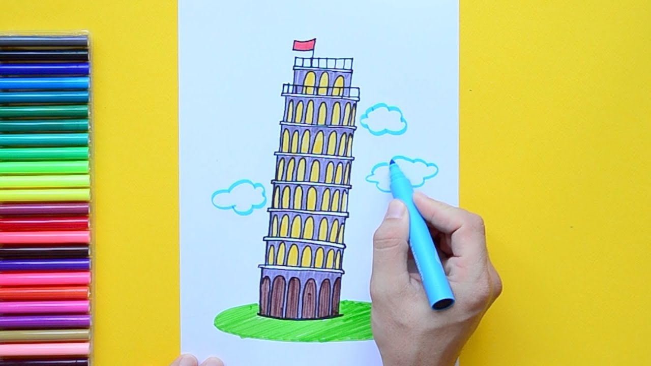 How To Draw The Leaning Tower Of Pisa Italy