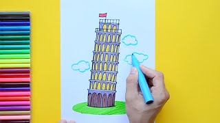 How to draw and color the Leaning Tower of Pisa, Italy