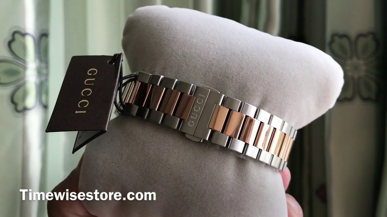 fdc87439063 GUCCI G-TIMELESS SILVER DIAL STAINLESS STEEL AND PINK GOLD PVD UNISEX WATCH  YA126447 38MM