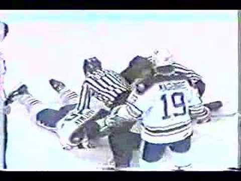 Bruce Shoebottom (Bruins) vs. Mike Hartman (Sabres)