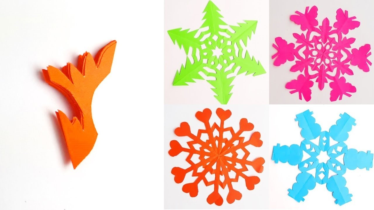 5 Snowflake Ideas Snowflake Ideas For Christmas Paper Decorations With Color Papers Youtube