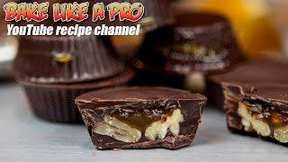 Easy Dark Chocolate Pecan Caramel Cups Recipe BakeLikeAPro