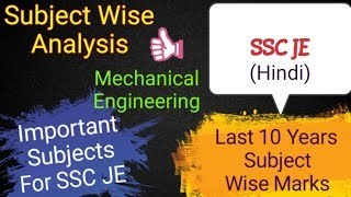 Subject Wise marks for SSC JE - Last 10 Years | Mechanical Engineering - Important Subjects | Hindi