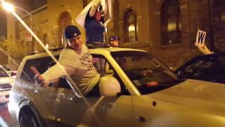 Chicago Cubs fans still celebrating World Series Victory really late at night