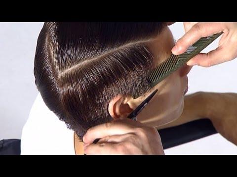 Асимметричная мужская стрижка с длинной и гладкой челкой
