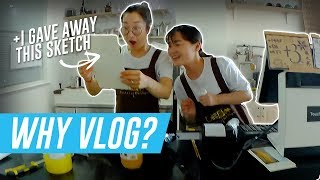 Why I'm vlogging + Giving my sketches to people (中文字幕)