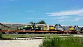 **Must See** CSX SD40-2 Leads Work Train w/ Rail Construction Equipment