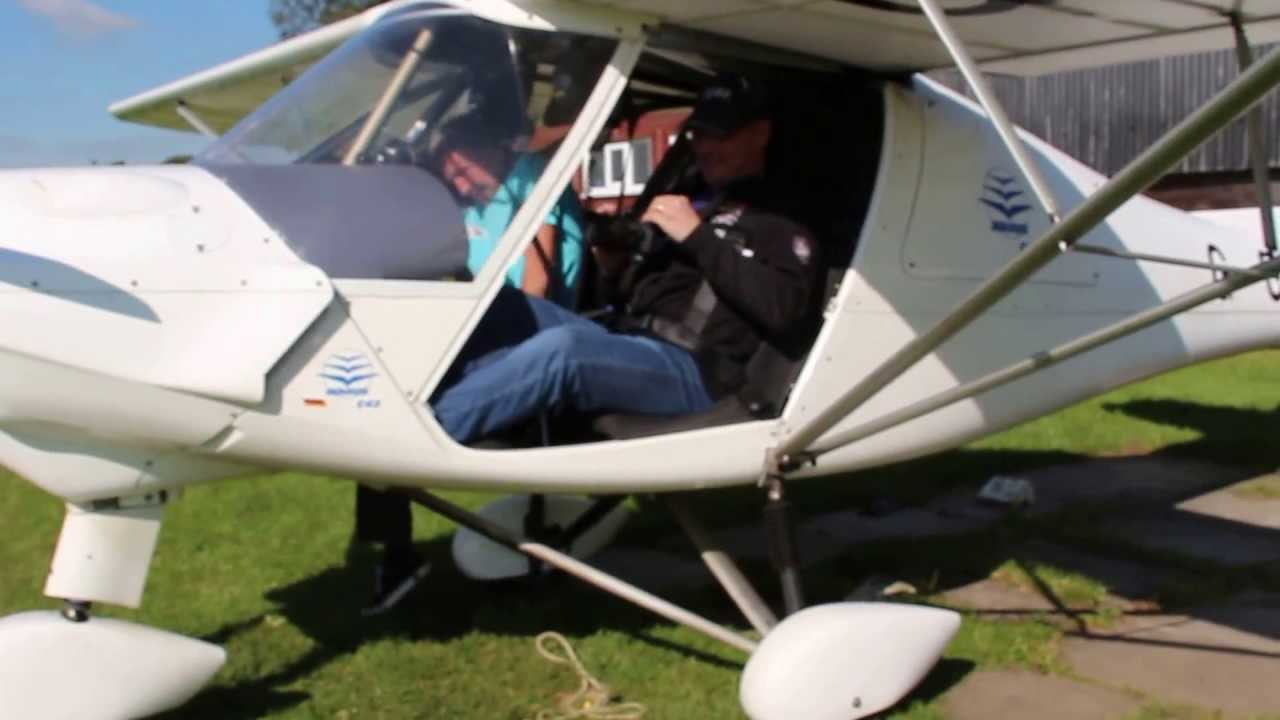Eico's surprise microlight flight - strapping in, taxing out