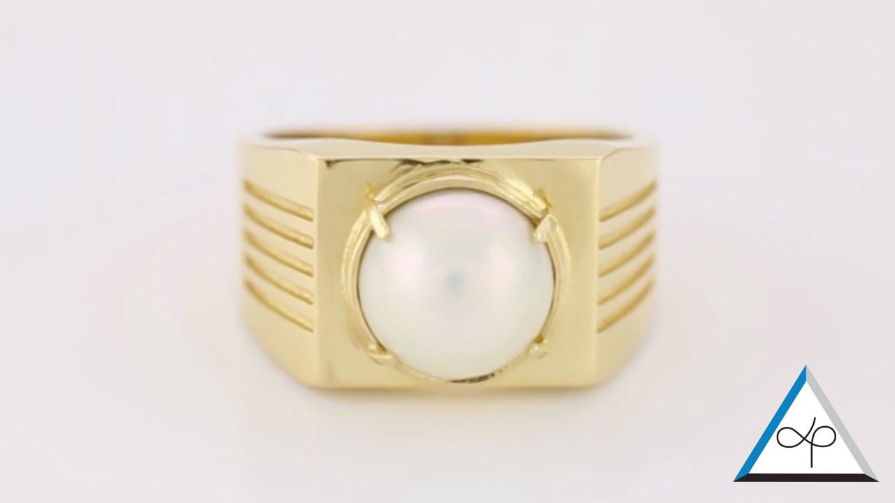 White Pearl Ring, Real Salt Water Pearl Set In Gold Ring  Prakash Gems  Prakash Astrologer