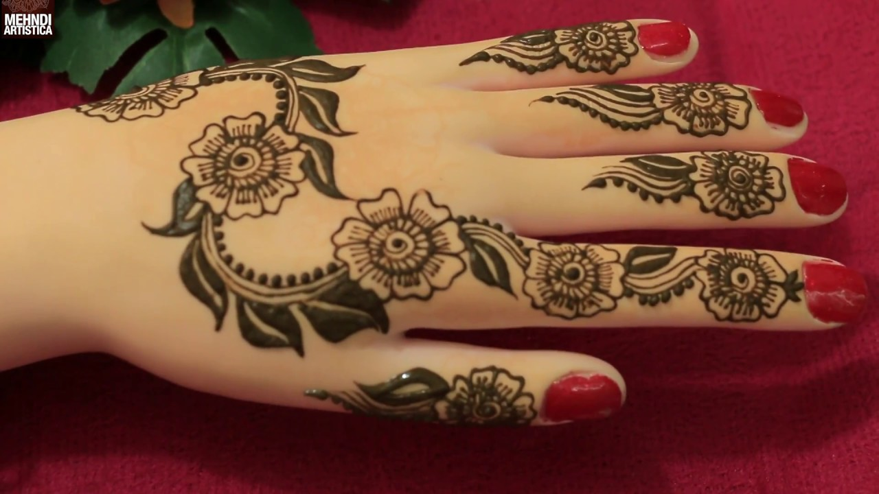 Leafy Art With Floral Twist Henna Mehndi Designs For Hands