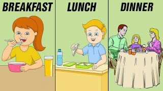 Breakfast, Lunch, Dinner - Meals And Their Timings For Kids | Preschool Learning Videos For Kids