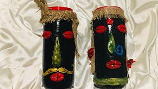 Bottle art/ glass jar decoration/ bottle decoration