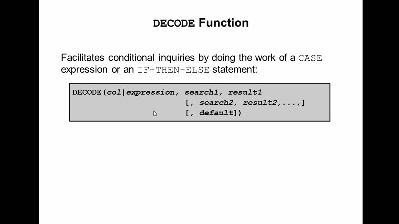 Oracle Sql Video Tutorial 27 Decode Function Youtube
